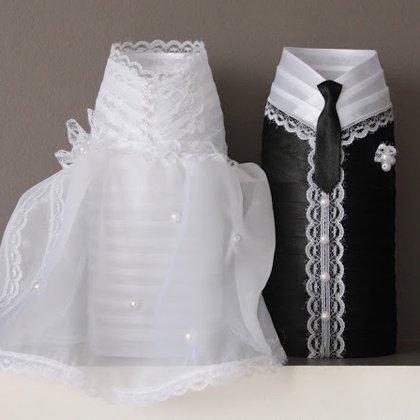 Как оформить шампанское на свадьбу: бутылки