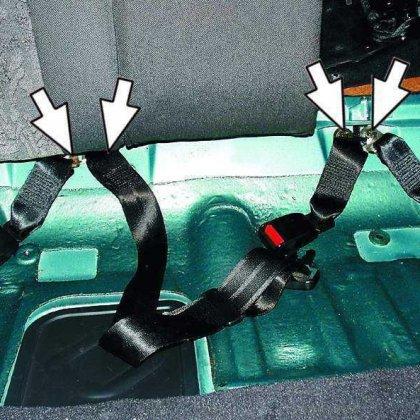 Как установить задние ремни безопасности?