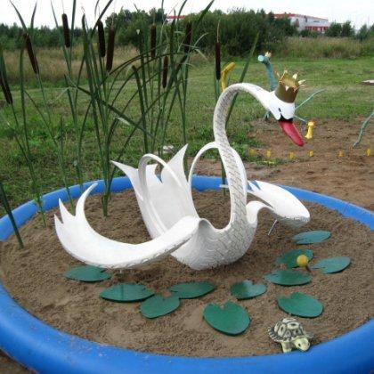 Как сделать лебедя из покрышки картинки