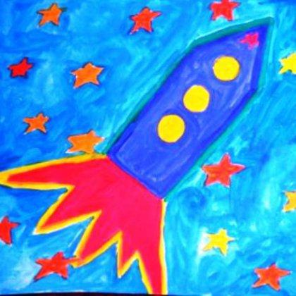 Как нарисовать ракету красками: уроки для детей