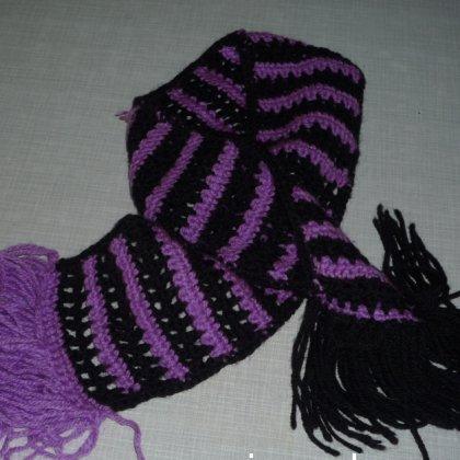 Как связать двухцветный шарф, шарф с надписью?